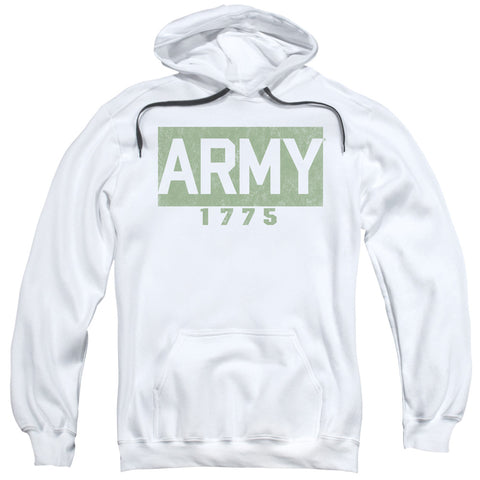ARMY/BLOCK-ADULT PULL-OVER HOODIE-WHITE-SM