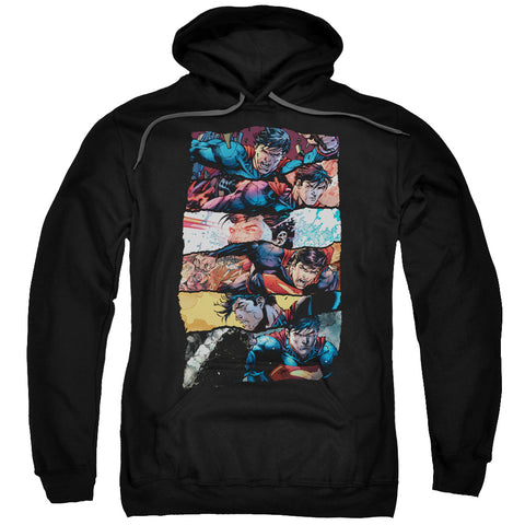 SUPERMAN/TORN COLLAGE-ADULT PULL-OVER HOODIE-BLACK-SM