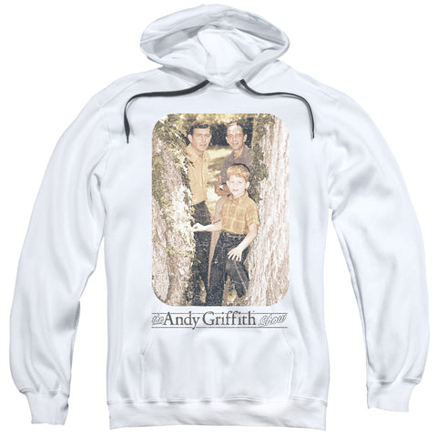 ANDY GRIFFITH/TREE PHOTO-ADULT PULL-OVER HOODIE-WHITE-3X