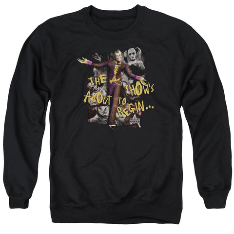 ARKHAM CITY/ABOUT TO BEGIN - ADULT CREWNECK SWEATSHIRT - BLACK - 2X