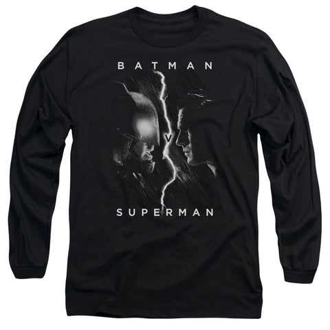 BATMAN V SUPERMAN/FACE TO FACE-L/S ADULT 18/1-BLACK-MD