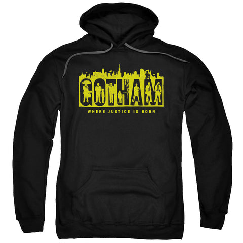 GOTHAM/SILHOUETTES-ADULT PULL-OVER HOODIE-BLACK-SM