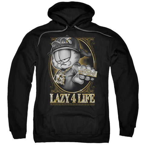 GARFIELD/LAZY 4 LIFE-ADULT PULL-OVER HOODIE-BLACK-XL
