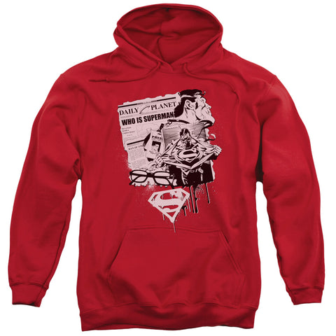 SUPERMAN/IDENTITY-ADULT PULL-OVER HOODIE-RED-LG