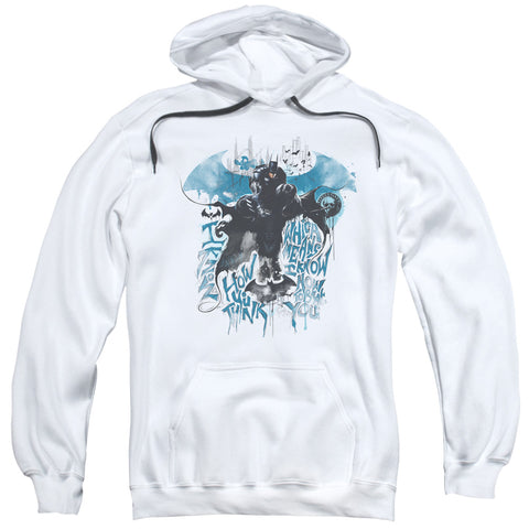BATMAN ARKHAM KNIGHT/I KNOW-ADULT PULL-OVER HOODIE-WHITE-SM