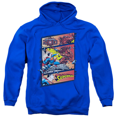 SUPERMAN/SUPERMAN VS ZOD-ADULT PULL-OVER HOODIE-ROYAL BLUE-XL