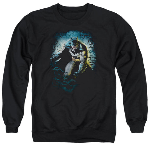 BATMAN/BAT CAVE - ADULT CREWNECK SWEATSHIRT - BLACK - LG