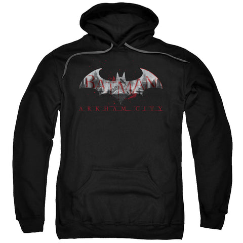 ARKHAM CITY/BAT FILL-ADULT PULL-OVER HOODIE-BLACK-SM