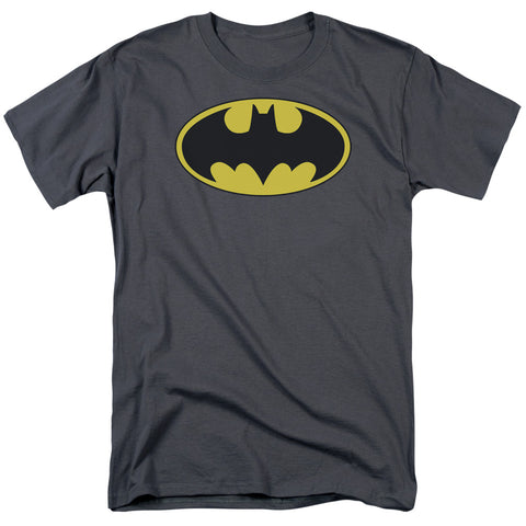 BATMAN/CLASSIC BAT LOGO - S/S ADULT 18/1 - CHARCOAL - XL