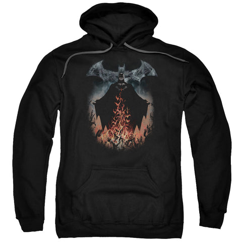 BATMAN/SMOKE & FIRE-ADULT PULL-OVER HOODIE-BLACK-XL