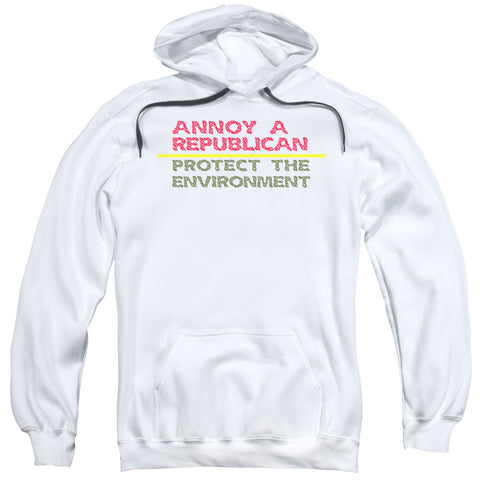 ANNOY A REPUBLICAN-ADULT PULL-OVER HOODIE-WHITE-XL
