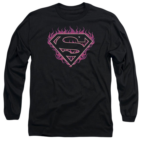 SUPERMAN/FUCHSIA FLAMES - L/S ADULT 18/1 - BLACK - XL