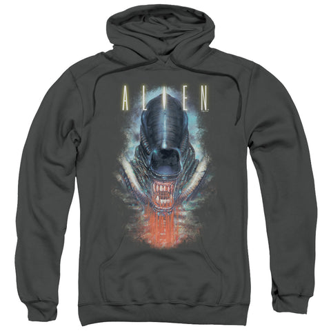 ALIEN/BLOODY JAW-ADULT PULL-OVER HOODIE-CHARCOAL-2X