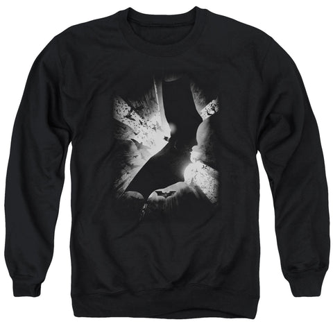 BATMAN BEGINS/BW POSTER - ADULT CREWNECK SWEATSHIRT - BLACK - 2X