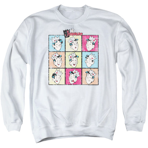 ARCHIE COMICS/JUG HEADS - ADULT CREWNECK SWEATSHIRT - WHITE - SM