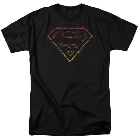 SUPERMAN/FLAME OUTLINED LOGO-S/S ADULT 18/1 - BLACK - 5X