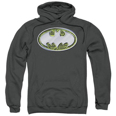 BATMAN/CIRCUITS LOGO-ADULT PULL-OVER HOODIE-CHARCOAL-3X