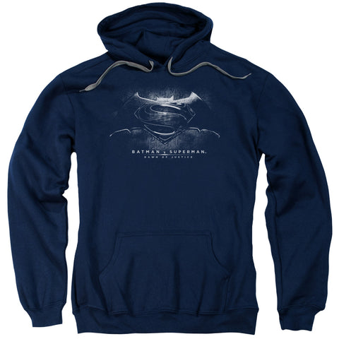 BATMAN V SUPERMAN/BW LOGO-ADULT PULL-OVER HOODIE-NAVY-MD