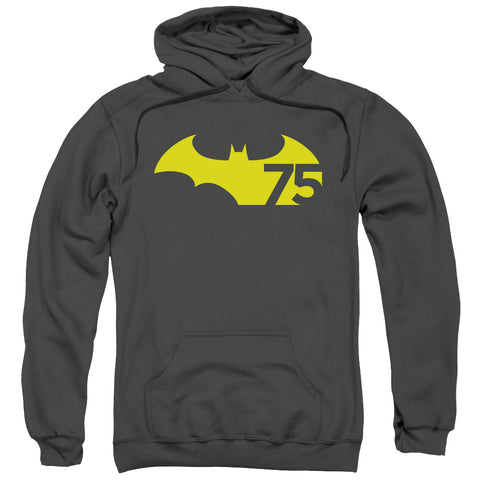 BATMAN/75 LOGO 2-ADULT PULL-OVER HOODIE-CHARCOAL-SM