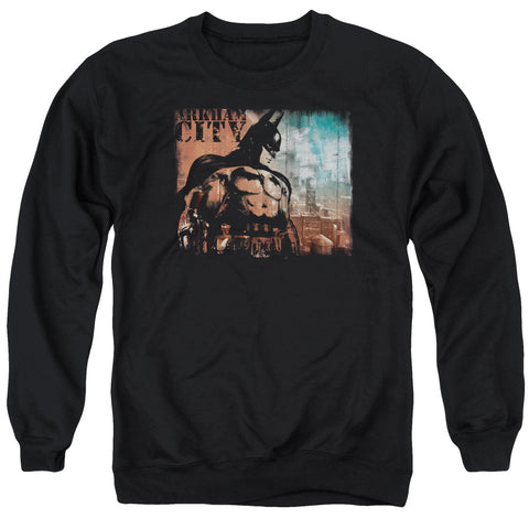 ARKHAM CITY/CITY KNOCKOUT - ADULT CREWNECK SWEATSHIRT - BLACK - LG
