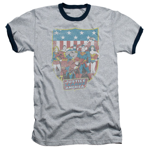 DC/JLA AMERICAN SHIELD - ADULT RINGER - HEATHER/NAVY - XL