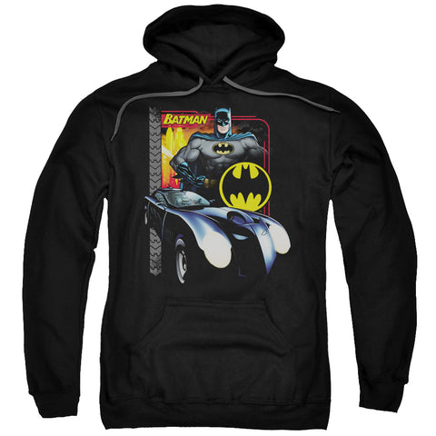 BATMAN/BAT RACING-ADULT PULL-OVER HOODIE-BLACK-SM