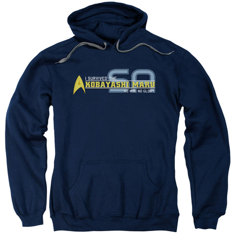 STAR TREK/I SURVIVED-ADULT PULL-OVER HOODIE-NAVY-SM