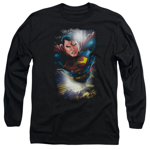 SUPERMAN/IN THE SKY-L/S ADULT 18/1-BLACK-XL