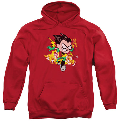 TEEN TITANS GO/ROBIN-ADULT PULL-OVER HOODIE-RED-XL