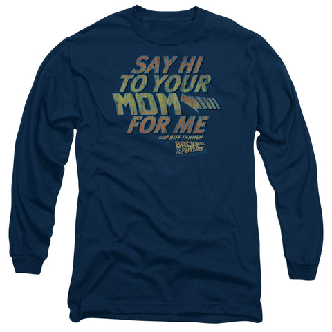 BACK TO THE FUTURE/SAY HI - L/S ADULT 18/1 - NAVY - SM - NAVY - SM