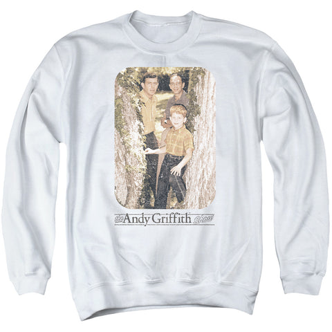 ANDY GRIFFITH/TREE PHOTO - ADULT CREWNECK SWEATSHIRT - WHITE - 3X