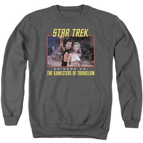STAR TREK/EPISODE 46 - ADULT CREWNECK SWEATSHIRT - CHARCOAL - SM
