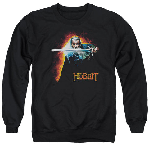 THE HOBBIT/SECRET FIRE - ADULT CREWNECK SWEATSHIRT - BLACK - SM