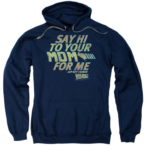 BACK TO THE FUTURE/SAY HI - ADULT PULL-OVER HOODIE - Navy - XL