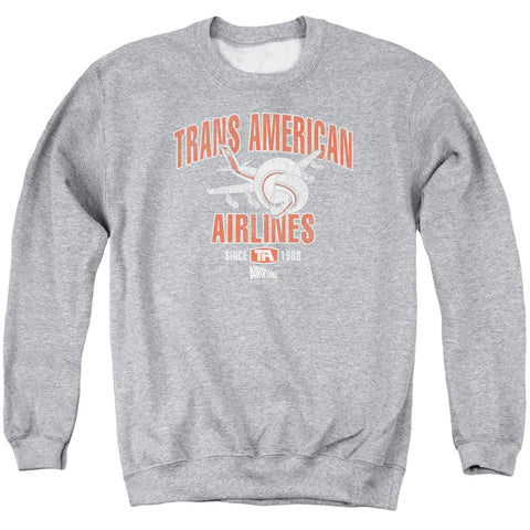 AIRPLANE/TRANS AMERICAN - ADULT CREWNECK SWEATSHIRT - ATHLETIC HEATHER - XL