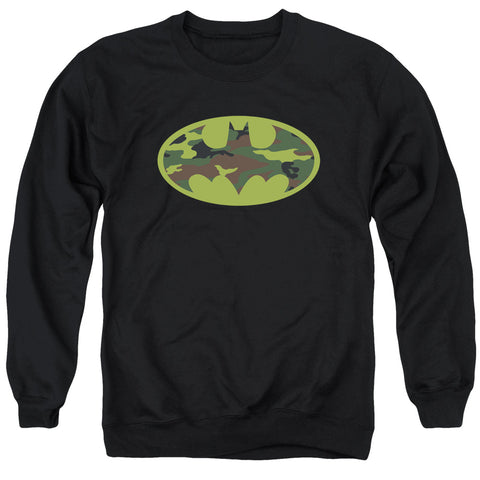 BATMAN/CAMO LOGO - ADULT CREWNECK SWEATSHIRT - BLACK - XL