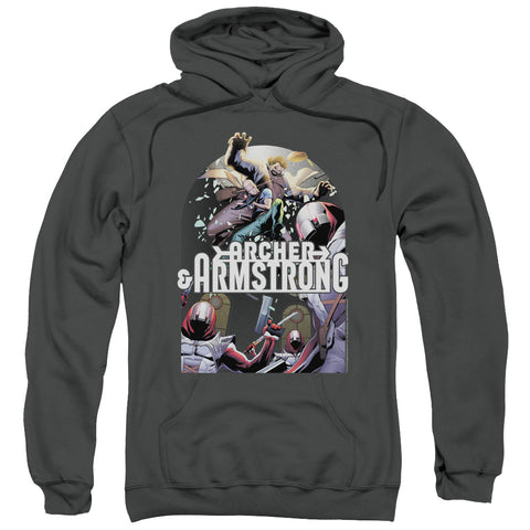 ARCHER & ARMSTRONG/DROPPING IN-ADULT PULL-OVER HOODIE-CHARCOAL-3X