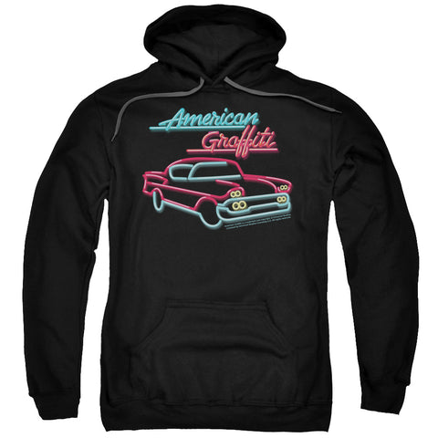 AMERICAN GRAFITTI/NEON - ADULT PULL-OVER HOODIE - BLACK - 3X - Black - 3X