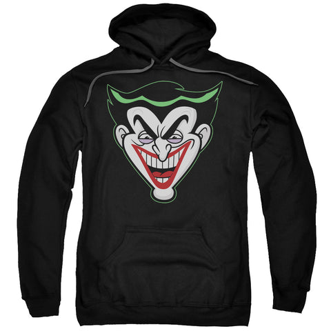 BATMAN BB/ANIMATED JOKER HEAD-ADULT PULL-OVER HOODIE-BLACK-LG