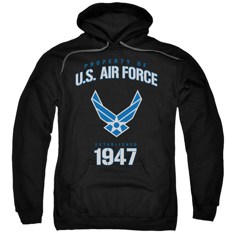 AIR FORCE/PROPERTY OF-ADULT PULL-OVER HOODIE-BLACK-LG
