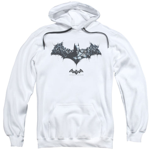 BATMAN ARKHAM ORIGINS/BAT OF ENEMIES-ADULT PULL-OVER HOODIE-WHITE-LG