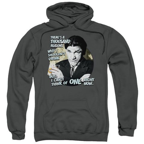THREE STOOGES/DRINK-ADULT PULL-OVER HOODIE-CHARCOAL-XL
