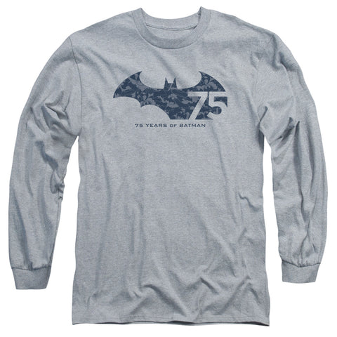 BATMAN/75 YEAR COLLAGE-L/S ADULT 18/1-ATHLETIC HEATHER-SM