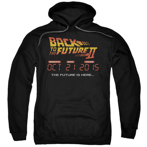 BACK TO THE FUTURE II/FUTURE IS HERE - ADULT PULL-OVER HOODIE - BLACK - 2X - Black - 2X