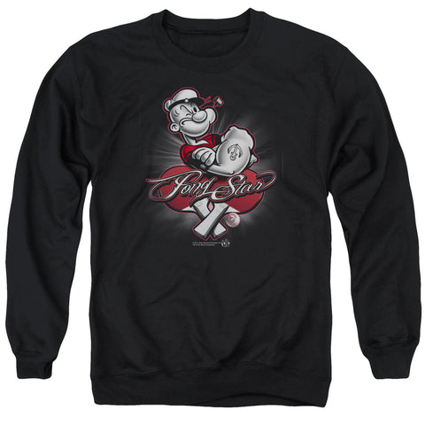 POPEYE/PONG STAR - ADULT CREWNECK SWEATSHIRT - BLACK - 3X