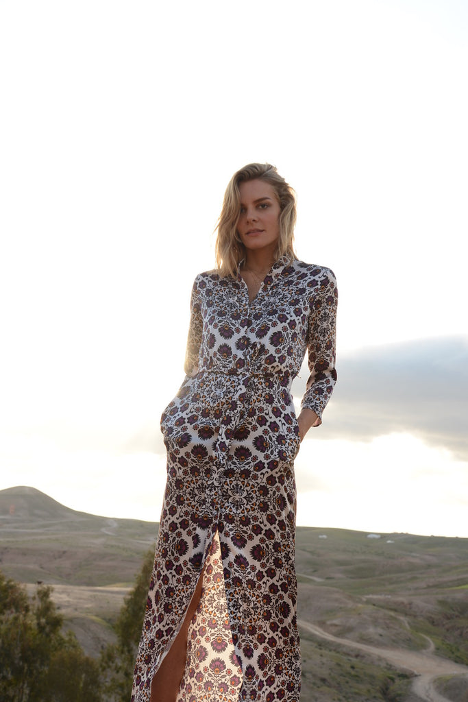 the long flirt , shirt dress , silk dress  - valle + vik