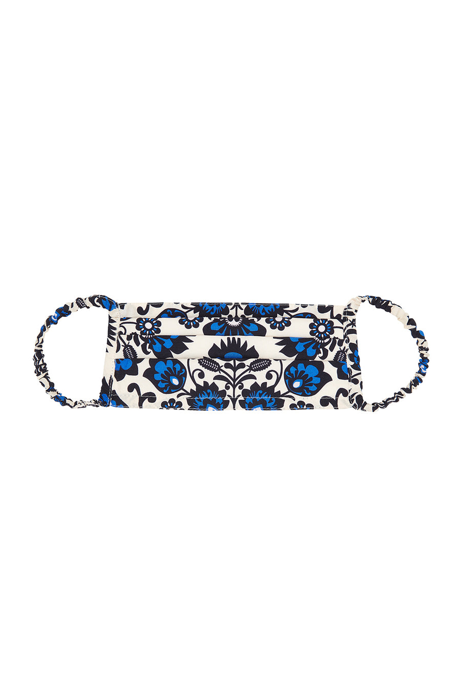 Silk Mask and Matching Pouch | Ville Blomst Ivory & Blue