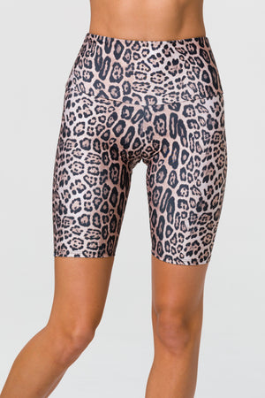 High Rise Biker Shorts - Leopard - Onzie Flow
