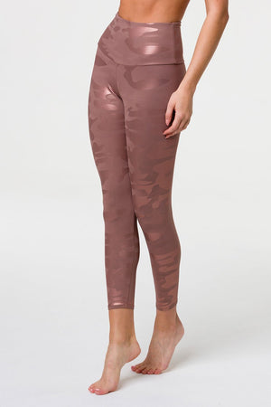 High Rise Legging - Rose Gold Camo Foil - Onzie Flow