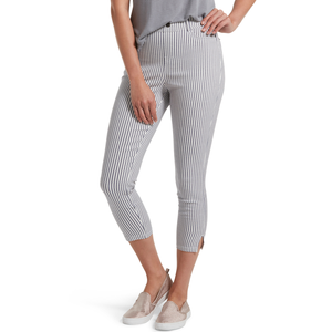 Hue Striped Ultra Soft High Waist Denim Capri